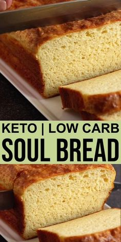 Low Carb Soul Bread - Keto Low Carb Bread Recipes A tried and true low carb bread developed and tested by a group of low carbers. With less than 1 gram of carb per slice, it's perfect for making keto sandwiches. Best Keto Bread, No Bread Diet, Keto Corn Bread, Keto Banana Bread, Paleo Bread, Easy Bread Recipes, Low Carb Recipes, Diet Recipes, Easy Keto Bread Recipe