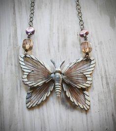 "Inspiration: ""Flutter"". adjustable vintage brass butterfly necklace with violet czech glass on oxidized sterling silver by val b."
