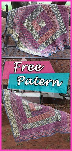Crochet Blanket Free Pattern Wacky Weave Log Cabin #crochet #crochetpattern #crocheting #blanket #freepattern