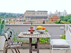 The private terrace of this Trastevere-area apartment looks out onto what is arguably Rome's most important monument, the Colosseum.  via HomeAway