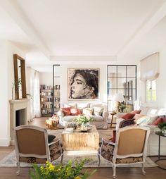 Charming house in Madrid by architect Juan Monteverde de Mesa Danish House, Dutch House, Beautiful Living Rooms, Beautiful Homes, Charming House, Ceiling Design, Colorful Decor, Home Accessories, Living Room Decor