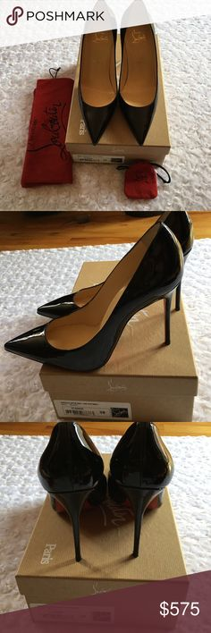 CHRISTIAN LOUBOUTIN DÉCOLLETÉ 554 100 PATENT Beautiful!! Gorgeous!! Includes dust bag. Heel replacements. Box. Poshmark's Authentication. Size 38. -No trades. Christian Louboutin Shoes Heels