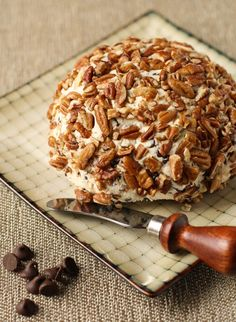 A fluffy cream cheese and chocolate chip cheese ball that tastes like cheesecake.