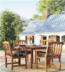 Forest Stewardship Council-Certified Eucalyptus Oval Dining Table And Four Chairs Set