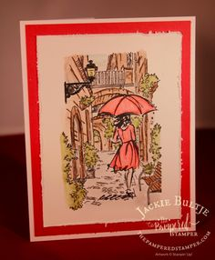 Jackie Bultje:  Stampin' Up! Beautiful You and Mediterranean Moments; SU watercolour pencils; video--masking technique