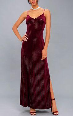 Studio Lounge Burgundy Velvet Sequin Maxi Dress Best Maxi Dresses, Beautiful Maxi Dresses, Beautiful Gowns, Women's Fashion Dresses, Casual Gowns, Formal Dresses, Sequin Dress, Sequins, Red Maxi