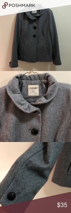 Old Navy Peacoat size Small Grey peacoat in size small. From Old Navy and has black buttons. Two pockets on front. And a greenish/grey inside Old Navy Jackets & Coats Pea Coats