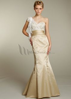 Buy online Special Design Mermaid / Trumpet One-shoulder Fabulous Long Lace Wedding Bridesmaid Dresses Long Bridesmaid Dresses under $139.99 only in MissDressesy.