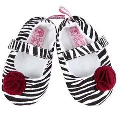 Ruffle Butts Zebra Shoes. Zebra print ballet flats with red rose embellishments and Velcro closures. See More Shoes at http://www.ourgreatshop.com/Shoes-C201.aspx