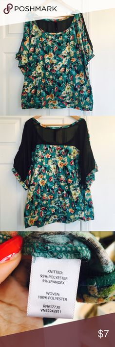 Pure Energy Floral Blouse with Sheer Back Shoulder Floral blouse with sheer back shoulder. Green/turquoise top with floral design. It has a sheer back across the shoulder area. size 4x, length 27.5 inches, armpit to armpit 31.5 inches Pure Energy Tops Tees - Short Sleeve