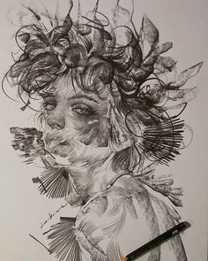 Swirling Lines dramatic pencil portraits by Lee. Sketchbook Inspiration, Art Sketchbook, Portrait Art, Portraits, Art Sketches, Art Drawings, A Level Art, Weird Art, Aesthetic Art