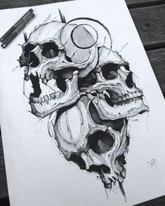 Jakob Holst on Insta Sketch Tattoo Design, Skull Tattoo Design, Skull Design, Skull Tattoos, Tattoo Sketches, Life Tattoos, Tattoo Drawings, Body Art Tattoos, Art Sketches