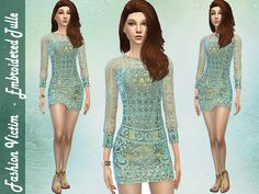 The Sims Resource: Embroidered Tulle Dress by Fashion Victim • Sims 4 Downloads