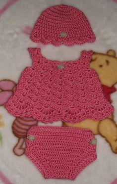 Baby Girl Crochet Dress Set  Hat Dress & by TJsCrochetCreations
