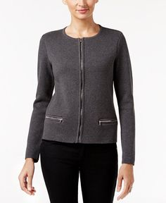 Charter Club Petite Zip-Up Cardigan, Only at Macy's
