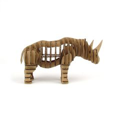Cardboard Animal Kit, Natural Rhino