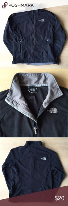 Used North Face Salathe Jacket | Black | M Used with significant wear, piling, and small hole at left hemline. TKA 100 fleece, with snaps at both wrists to snap into other TNF jackets, hem cinch at both sides. Two zippered pockets in front, embroidered logo left chest and right upper back. Length approx 24 in from neckline to hemline. 100% polyester. Machine wash delicate cycle in warm water, tumble dry low or for best results, line dry. Smoke-free/pet free home. No trades. The North Face…