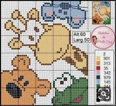 Schermi - My list of the most beautiful animals Crochet Pixel, C2c Crochet, Crochet Chart, Kawaii Cross Stitch, Cross Stitch Baby, Cross Stitch Animals, Cross Stitch Cards, Cross Stitching, Cross Stitch Embroidery