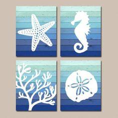 Items similar to Beach BATHROOM Wall Art, Ombre Beach CANVAS or Print Nautical Bathroom Decor, Starfish Seahorse Coral Reef, Wood Beach Bath Sign Set of 4 on Etsy - model. Nautical Bathroom Decor, Bathroom Wall Art, Coastal Decor, Neutral Bathroom, Parisian Bathroom, Tropical Decor, Nautical Design, Nautical Home, Nautical Interior
