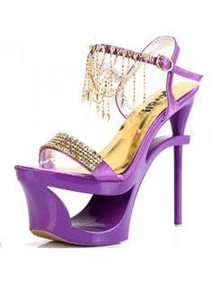 Purple Platform Stiletto Heel Sandals With Rhinestone