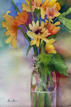 Sunflowers in a Vase 10x6 by Marni Maree