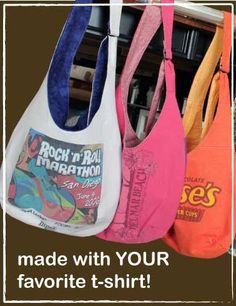 Hand made purses from old t-shirts..