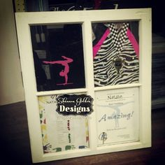 Repurposed Window. Transformed into gymnastics display case for little girls room.