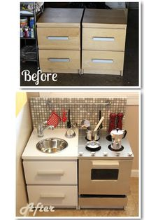 Great reuse...and finally a kitchen for a boy.    http://www.smallfriendly.com/small-friendly/2012/01/diy-modern-play-kitchen.html