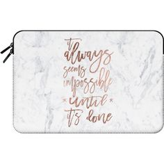 Macbook Sleeve - Modern rose gold typography quote awlays seems... (1,090 MXN) ❤ liked on Polyvore featuring accessories, tech accessories and macbook sleeve