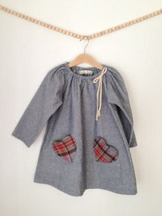 denim peasant dress with plaid heart pockets by LittleRenllc, $42.00
