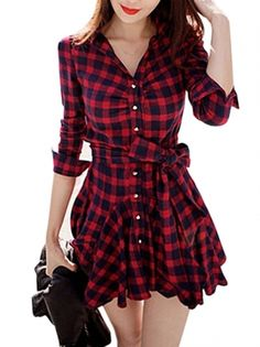 Sweet V-neck Plaid Pattern Bowknot Decorated Slim Dress  on buytrends.com