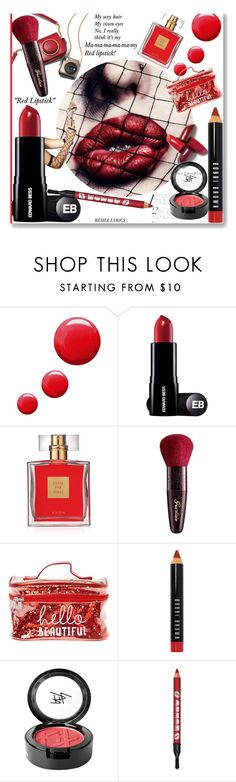 """""""ma-my Red lipstick!"""" by dianefantasy ❤ liked on Polyvore featuring beauty, Topshop, Avon, Guerlain, Bobbi Brown Cosmetics and Beauty Is Life"""
