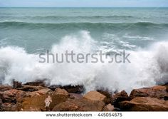 Storm wave (surf), Mediterranean sea, coast of Torrevieja, Alicante region, Spain, Europe