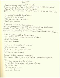 Jillette Johnson's #Cameron Handwritten Lyrics. Such a powerful song with an amazing music video too.