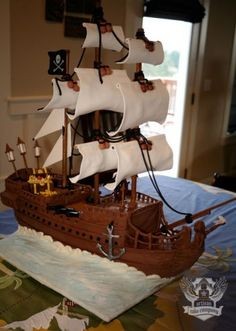 black pearl pirate ship cake