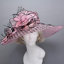 Church Kentucky Derby Dot w/Flower Light Pink Hat Wide Brim Wedding TeaParty
