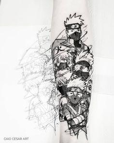 Forarm Tattoos, Dope Tattoos, Body Art Tattoos, Sleeve Tattoos, Tattoos For Guys, Tatoos, Kakashi Hokage, Kakashi Sensei, Naruto Uzumaki
