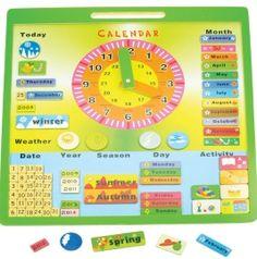 Dřevěné hračky - Anglický kalendář s hodinami