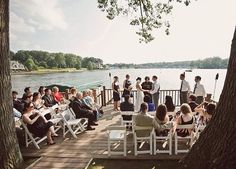Wedding on a lake/dock. Could be a perfect place for a summer wedding, especially for a small/intimate ceremony. Dock Wedding, Wedding Costs, Bush Wedding, Lake Dock, Boat Dock, We Get Married, Getting Married, Wedding Officiant, Wedding Venues