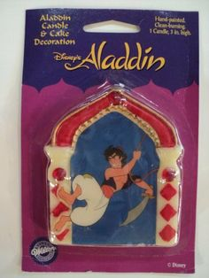 "Wilton Disney Aladdin Candle and Cake Decoration by Wilton. $4.99. 3"" high. Bright colors. See our other listings for other colors!. Hand painted!. Fun Aladdin themed candles"