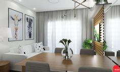 Projeto de interiores apartamento de 52m². A proposta para esse ambiente que integra a cozinha, sala de estar e jantar, foi fazer um ambiente clean com os tons claros, confortável com a madeira e um toque de ousadia no verde Greenery do armário da cozinha!! Mais projetos no Instagram