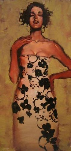 Michael Carson {contemporary artist figurative female décolletage cleavage beautiful woman floral print dress painting}