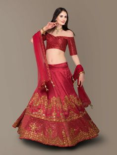 It is the festive time. Forget the sad months that has passed and flaunt your posh and classy look with this hypnotic red colored lehenga choli. This beautiful lehenga is enhanced with lovely embroidery, prints and stonework. We have tried not to make it too shiny to keep the classy look. The lehenga choli is made of art silk. The accompnyin dupatta is made of netting with embroidary on it. Lehenga Choli Online, Bridal Lehenga Choli, Silk Lehenga, Silk Dupatta, Wedding Lehnga, Indian Wedding Wear, Indian Party Wear, Bollywood Lehenga, Indian Lehenga