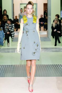 Prada F/W 2015 at MFW. The bright shock of citron green is lovely.