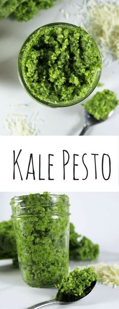 Kale Pesto made with loads of kale, almonds, parmesan cheese, olive oil and garlic. Perfect for pasta, pizza or sandwiches.