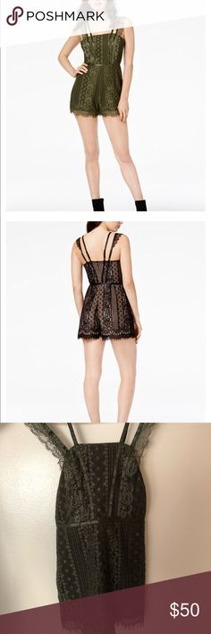 GUESS Lace Romper Gorgeous olive green romper. Got it for my best friend's 21st bday dinner and ended up wearing something else. Offers welcome! Guess Dresses Mini