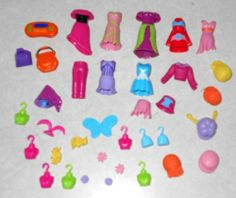 Polly Pocket Magnetic Dolls Clothing Wigs Hair Pieces Accessories 49 Pieces | eBay