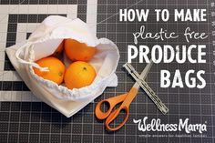 Make plastic-free produce bags using organic cloth, mesh or even old t-shirts and avoid plastic at the store with this inexpensive and easy alternative!