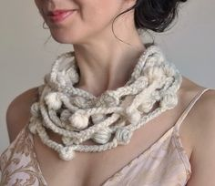 We Can Get Wild - OOAK freeform crocheted fiber necklace in natural cream shades