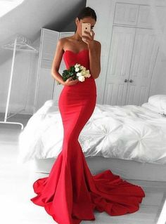 Silhouette:mermaid Hemline:floor lenght Neckline:sweetheart Fabric:satin Sleevee Style:sleeveless Shown color:red Back style:zipper up